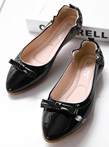 Aisun Femme Elégant Nœud Papillon Bout Fermé Ballerines Noir