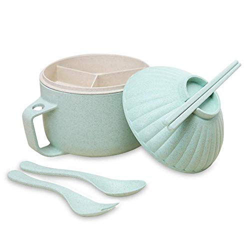 Instant Nudelschüssel-Set, große Kapazität japanische Ramen Nudelsuppe Schüssel Kit Shell Form Haushaltsgeschirr mit Deckel Essstäbchen Löffel für Schlafsaal, Familie, Büro ()
