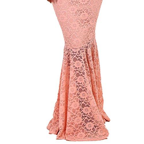 Robe de Soirée Moulante en Dentelle Floral Vintage Rétro Sans Manches Robe de Cocktail Pour Femme Rose