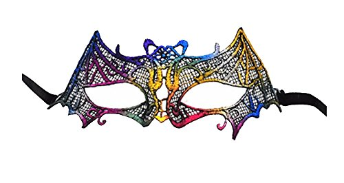Lace Masquerade Ball Maske Venetian Bat Mardi Gras Halloween Kostüm Party Maske (Regenbogen)