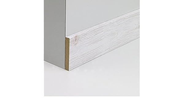 Abdeckleiste Abschlussleiste Sockelleiste Wandschutzleiste aus MDF in Eiche Hell Grau Realpore 2600 x 6 x 40 mm NEU!