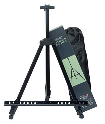 Brustro Artists Portable Lightweight Metal Display Easel with Free Weatherproof Carry Bag, Holds Canvas Upto 32""