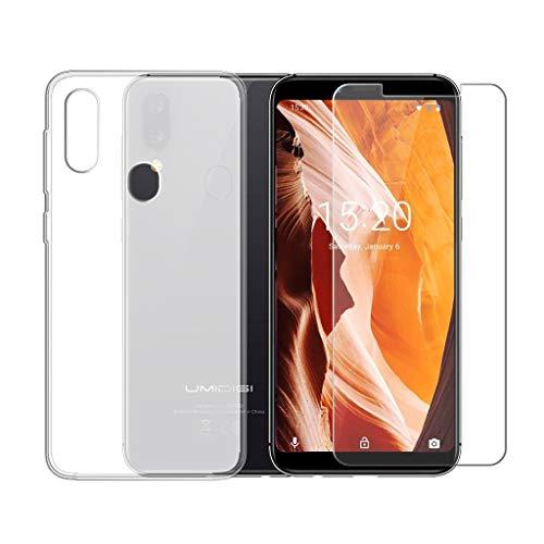 LJSM Hülle für UMIDIGI A3 Semi-Transparent + Panzerglas Bildschirmschutzfolie Schutzfolie - Weich Silikon Schutzhülle Crystal Flexibel TPU Tasche Case für UMIDIGI A3 2018 (5.5