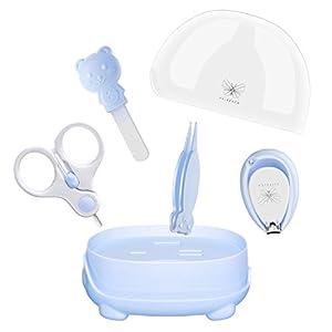 Babypflege Set 4-teiliges, FAIREACH Baby Pflegeset mit Sicherheits Nagelschere, Glasnagelfeile, Nagelknipser, Nasenpinzette, Nagelpflegeset für Neugeborene, Baby und Kinder