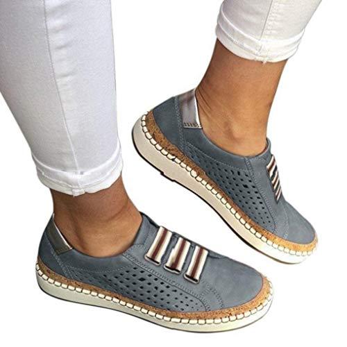 Mokassins Damen Plateau Loafer Espandrillos mit Keilabsatz 4cm Halbschuhe Flache Sneaker Wedge Atmungsaktiv Freizeit Schuhe Schwarz Grün Rot Blau 35-43 BL41 -