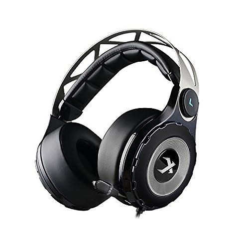 XIBERIA T18-D Casque Gaming Over-Ear en Son Surround avec un Microphone Rétractable pour PC/MAC/Xbox/One/PS4/Wii U/Mobile (Noir)
