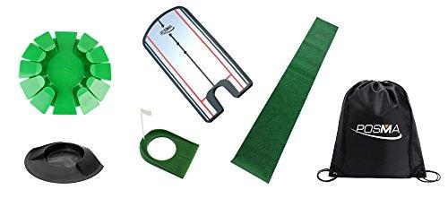 Posma Phs009Putter de golf d'entraînement Bundle avec ensemble de 3sortes de putting Tasses + 1.8m x 0.3m Tapis de putting + 1Medium Taille Golf donnant l'alignement Miroir + Posma Cinch Sack Intérieur/extérieur donnant Practise Aid