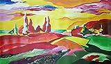 "Pintura Lienzo al Óleo Paisaje Abstracto Moderno ""OSCURO ROJO"" por DOBOS, Cuadro Original para..."