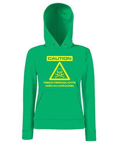 T-Shirtshock - Sweatshirt a capuche Femme T0199 CAUTION fun cool geek Vert