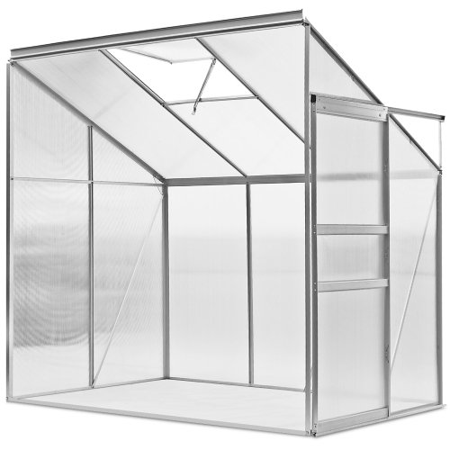 Deuba Lean to Greenhouse Polycarbonate Window Vent 192x127x202cm Aluminium Grow Hot House - 4.9m³