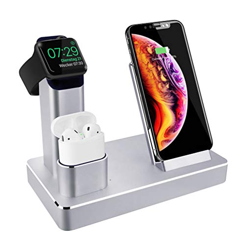 3 in 1 Ladestation Stand für Apple Watch AirPods iPhone, Aluminium Induktive Qi Ladestation, 7.5W Fast Wireless Charger für iPhone X/XS/Max/XR/8/Plus, 10W Induktions Ladegerät für Samsung (Ladestation Und Wecker)