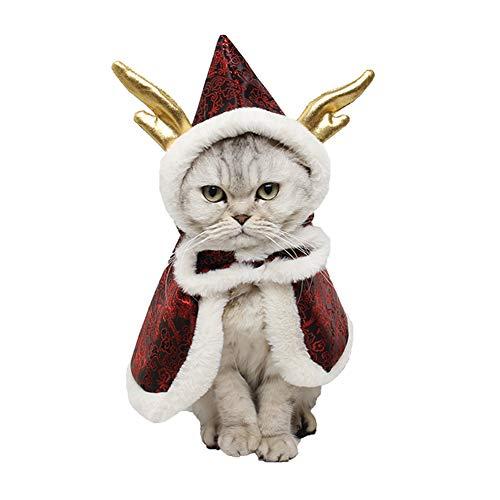 Kostüm Hunde Besitzer Und - CDSFC-Haustier Kostüm, Hund Katze Weihnachten Kreative Elch Kapuzen Mantel Atmungsaktiv Waschbar Komfortabel Festival Party Decor Supplies,Rot