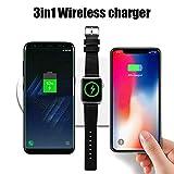 Chargeur rapide sans fil 3 en 1 pour station de recharge Apple Watch Station de recharge IWatch Station de recharge sans fil iPhone Station de recharge inductive pour iPhone X/iPhone 8 / 8Plus / Sam