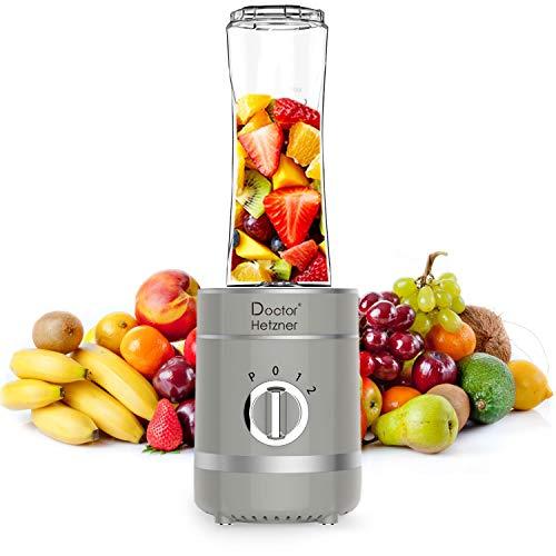 Doctor Hetzner Mini Frullatore, Frullatore per Smoothie, Frullatore Portatile 4 Lame in Acciaio Inox, con tazza da 600 ml, Frullatore per Frutta e Verdura, Senza BPA, 300W (grigio)