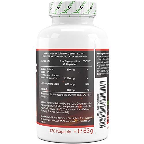 Raspberry 12000 Intenso – 12000 mg Tagesdosierung – Extra Stark – 120 Kapseln – 100% Himbeere Ketone Extrakt + Vitamin C + Folsäure- Himbeer Keton Fatburner – Diät Ergänzung –