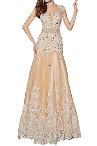 Victory Bridal Sexy Champagner Damen Abendkleider Ballkleider Festlich Damenmode mit Spitze Lang A-linie Royal Elfenbein/Champagner