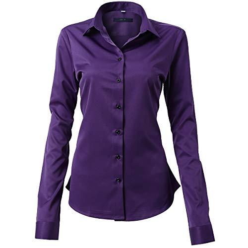 HARRMS Damen Hemd Bluse Langarm Shirts Elegant für Blazer Büro Business Slim Fit Bambusfaser Basic Retro Bügelleicht/Bügelfrei,Violett,50