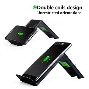 iPhone chargeur sans fil, Itorrent 3-coil chargement sans fil A6pour iPhone 8/8Plus/X, Samsung/S8S8+ S7S7Edge S6S6Edge (pas d'adaptateur secteur) Noir