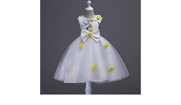 Girls Princess White Dress Wedding Pageant Prom Party Dresses 3-12 Years , yellow , 160: Amazon.co.uk: Sports & Outdoors