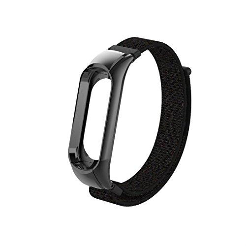 Preisvergleich Produktbild YUYOUG_watch strap yuyoug für Xiaomi Mi Band 3 Stylische Weiche Nylon Ersatz Band Sport Armband Double Buckle Handschlaufe Armband,  Schwarz