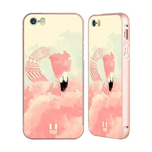 Head Case Designs Tropisch Fab Flamingo Gold Rahmen Hülle mit Bumper aus Aluminium für Apple iPhone 5 / 5s / SE Aztekisch Glam