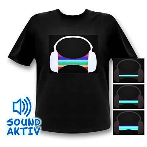 Ucult LED Equalizer T-Shirt Headphone Partyshirt Kopfhörer (M)
