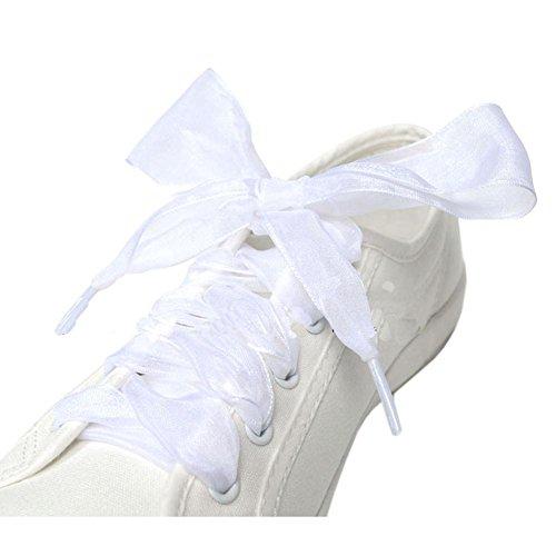 GZHOUSE Pizzo Lacci per scarpe organza nastro scarpe sportive con lacci piatti per scarpe Sneakers Stivali allargati 4CM Piatto 130CM Lunghezza 11 colori disponibili