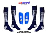 #8: DeNovo Lycra Socks Shin Guard Football & Hockey Kit (2 Pairs Knee Length Socks + 1 Pair Shin Guard)