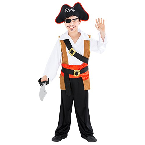 Jungenkostüm Kapitän einäugiger Ole | inkl. Gürtel mit schöner, goldener Schnalle und Piratenhut (5-7 Jahre | Nr. 300758) (Mädchen Schatz Königin Kostüme)