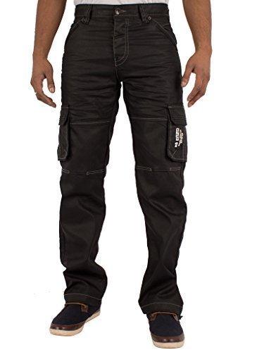 ZE Enzo Enzo Herren Designer Cargo Combat Jeans Hose alle Taille Größe schwarz beschichtet