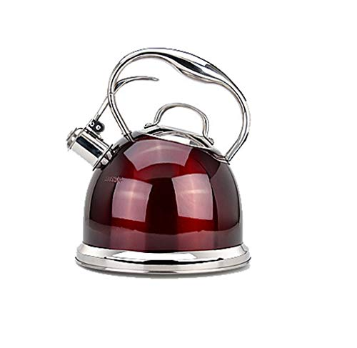 HongTeng Tee Wasserkocher Pfeifen Tee Wasserkocher Herd Edelstahl Teekanne Wasserflasche 3L (Color : Red)
