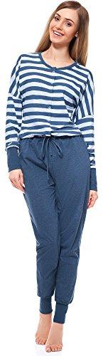 Be Mammy Combinaison Pyjama 1 Pièce Grossesse Allaitement BE20-130(Jeans Bleu Clair, M)