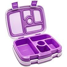 Para niños Bentgo - para niños de fiambrera/bento Box/fiambrera con 5 compartimentos, con caño de forma segura (colour azul, de colour verde o morado para elegir) morado