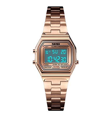 JQXB Herrenuhr, Double Time Square Countdown Edelstahl Digital Business Armbanduhr Wasserdicht,Rosegold