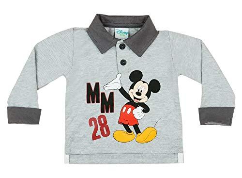 Disney Mickey Mouse Baby-Jungen Langarm T-Shirt Poloshirt Tennisshirt Longsleeve aus 100% Baumwolle, Hemd Oberteil mit Kragen in Grau, ideales Geschenk für Geburtstag Größe 80