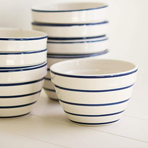 Desconocido Bowl - Saladier - Rayures Bleues - Fabriqué au Portugal - Diamètre 16 cm/Hauteur 9 cm