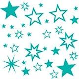 30 Stück türkise Sterne Aufkleber, Mix-Set, Fensterdekoration zu Weihnachten Fensterbild / Fensteraufkleber, Wandtattoo Deko Sticker, Autoaufkleber, Weihnachtsdekoration, Schaufenster In- und Outdoor Sternchen, Autoaufkleber 70001