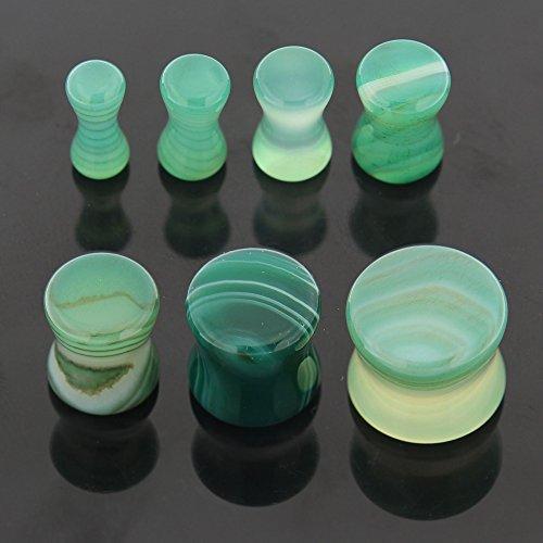 Pierre colorée vert Fluorite Jade modèle oreilles évasées Double selle fiche