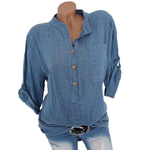 Charmstyle Damen Freizeit V-Ausschnitt Leinen Bluse Locker Hemd Blusenshirt
