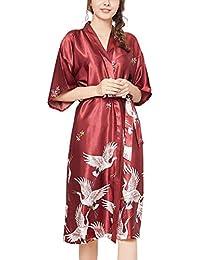 Pijamas De Mujer Ropa De Dormir Grúa Y Flores Clásico Camisa De Satén Y Seda Kimono