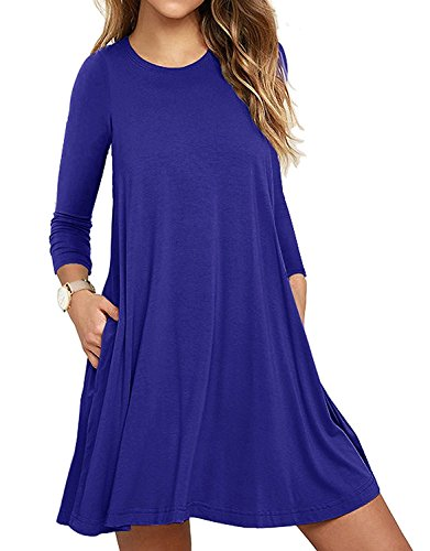 Blue Shirt Womens Royal Dress (LILBETTER Womens Basic Langarm Causal Tunic Top Mini T-Shirt Kleid (Königsblau S))