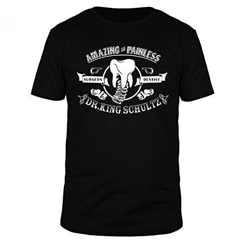 FABTEE Dr King Schultz Amazing and Painless Django Unchained T-Shirt Herren, Größe:L, Farbe:Schwarz