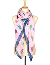 Stylish Bird Print Scarf Oversize Wrap Available in different colours (Pink)