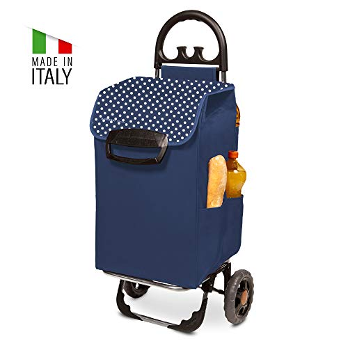 XL Einkaufstrolley Himy Einkaufswagen in blau mit 78L - großer Trolley mit leisen Gummi Rädern bis 50kg inkl. Seitentaschen