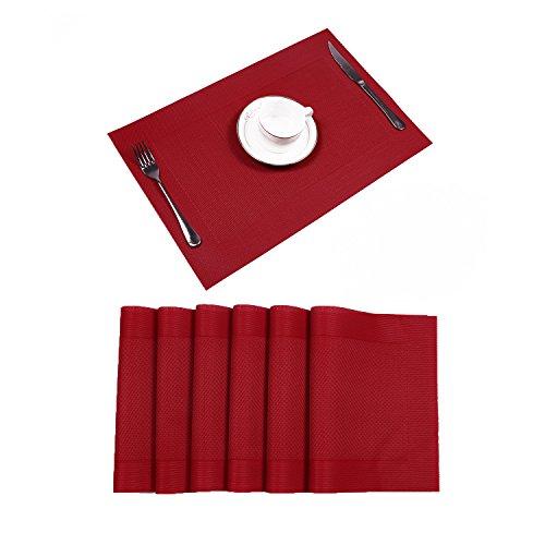 6er Set Platzsets Hitzebeständigen Waschbaren Vinyl Tischsets 30*45cm (6er Platzsets, Rot)