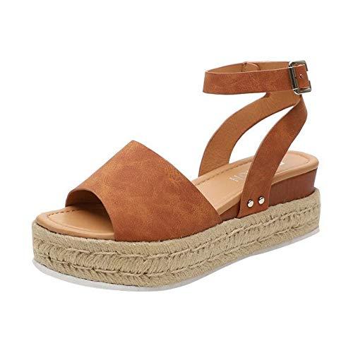SHIDEDIAN Casual Sandalen für Damen Espadrilles mit verstellbaren Knöchelriemen-Hausschuhen Offene Spitze Faux PU Leder Mit Keilabsatz Sandalen -