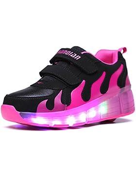 Mr.Ang - Zapatillas deportivas, con luces LED, con rueda, para niños y jóvenes, ideal para hacer senderismo, Schwarz-Rose...
