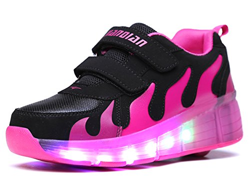 Mr.Ang Unisex LED light roller shoes Shoes Wing Style Rolls Adjustable Skates Rollerblades Inline Skates Single Wheel Boys Girls Kids Unisex Adults