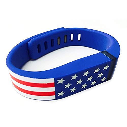 ZYCX123 Ersatz-Smart-Band für Fitbit Stars and Stripes American USA Flagge Muster Band-Silikon-Armband-Band für Männer und Frauen - Blau (And Stripes-flagge Stars)