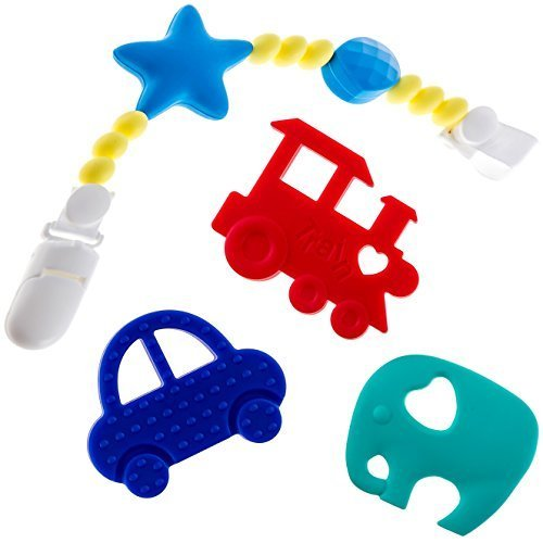 Beabies Teething Toys Plus Pacifier Clip/Teether Holder Bpa Free & Fda Approved Teether Soothing Pain Re